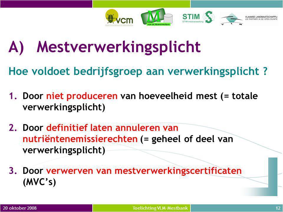 20 oktober 200812Toelichting VLM-Mestbank A)Mestverwerkingsplicht Hoe voldoet bedrijfsgroep aan verwerkingsplicht .