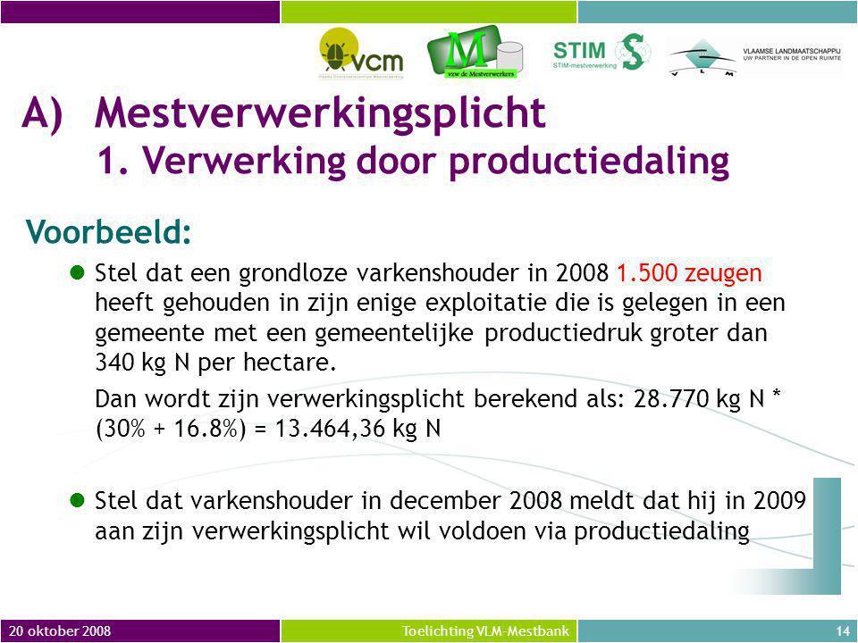 20 oktober 200814Toelichting VLM-Mestbank Voorbeeld: Stel dat een grondloze varkenshouder in 2008 1.500 zeugen heeft gehouden in zijn enige exploitatie die is gelegen in een gemeente met een gemeentelijke productiedruk groter dan 340 kg N per hectare.