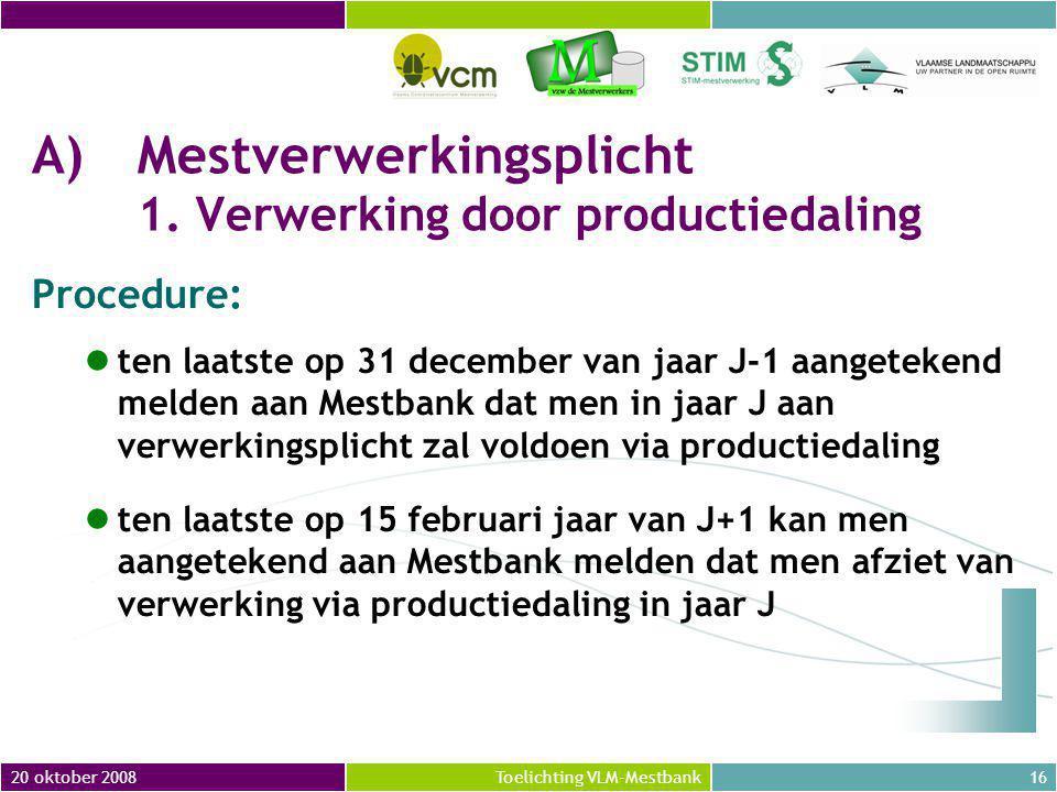 20 oktober 200816Toelichting VLM-Mestbank A)Mestverwerkingsplicht 1.