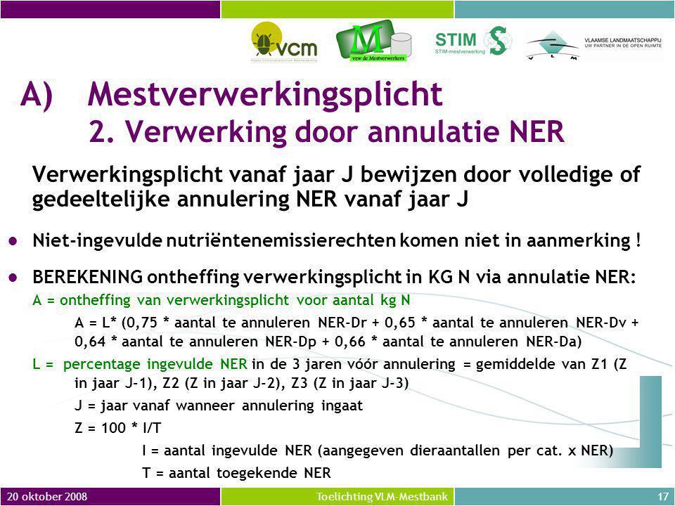 20 oktober 200817Toelichting VLM-Mestbank A)Mestverwerkingsplicht 2.