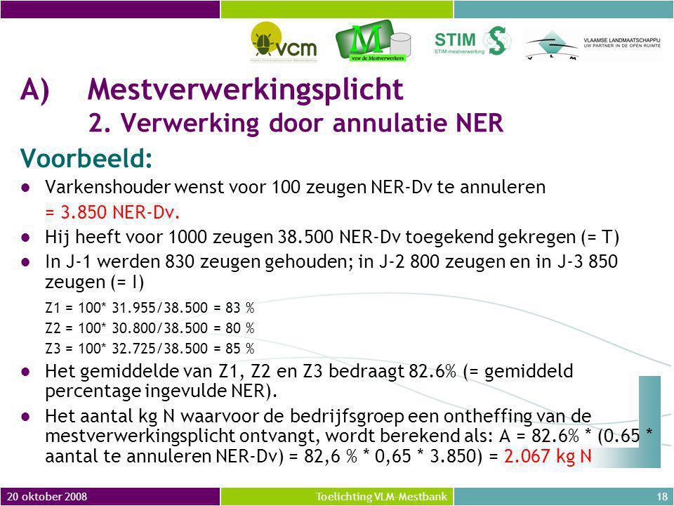 20 oktober 200818Toelichting VLM-Mestbank A)Mestverwerkingsplicht 2.