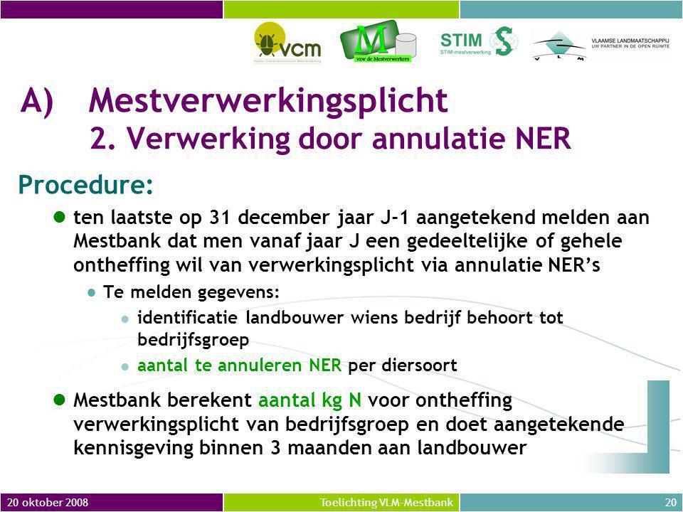 20 oktober 200820Toelichting VLM-Mestbank A)Mestverwerkingsplicht 2.