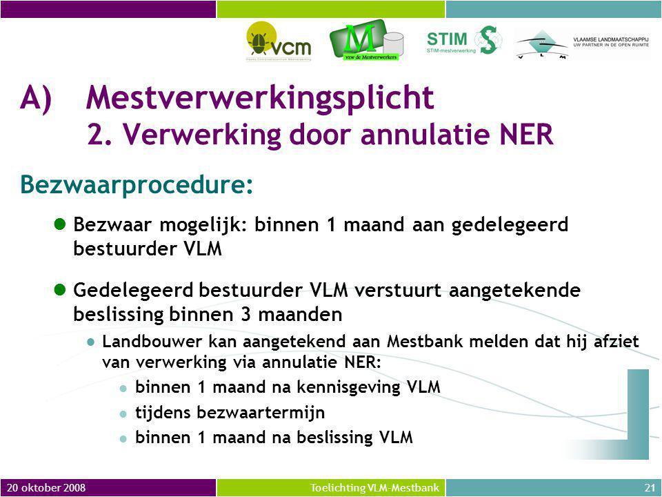 20 oktober 200821Toelichting VLM-Mestbank A)Mestverwerkingsplicht 2.