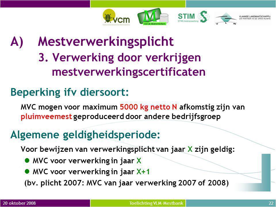 20 oktober 200822Toelichting VLM-Mestbank A)Mestverwerkingsplicht 3.