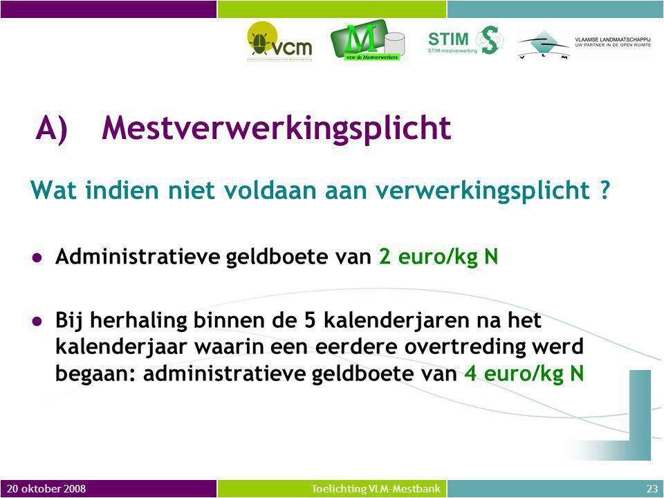 20 oktober 200823Toelichting VLM-Mestbank A)Mestverwerkingsplicht Wat indien niet voldaan aan verwerkingsplicht .