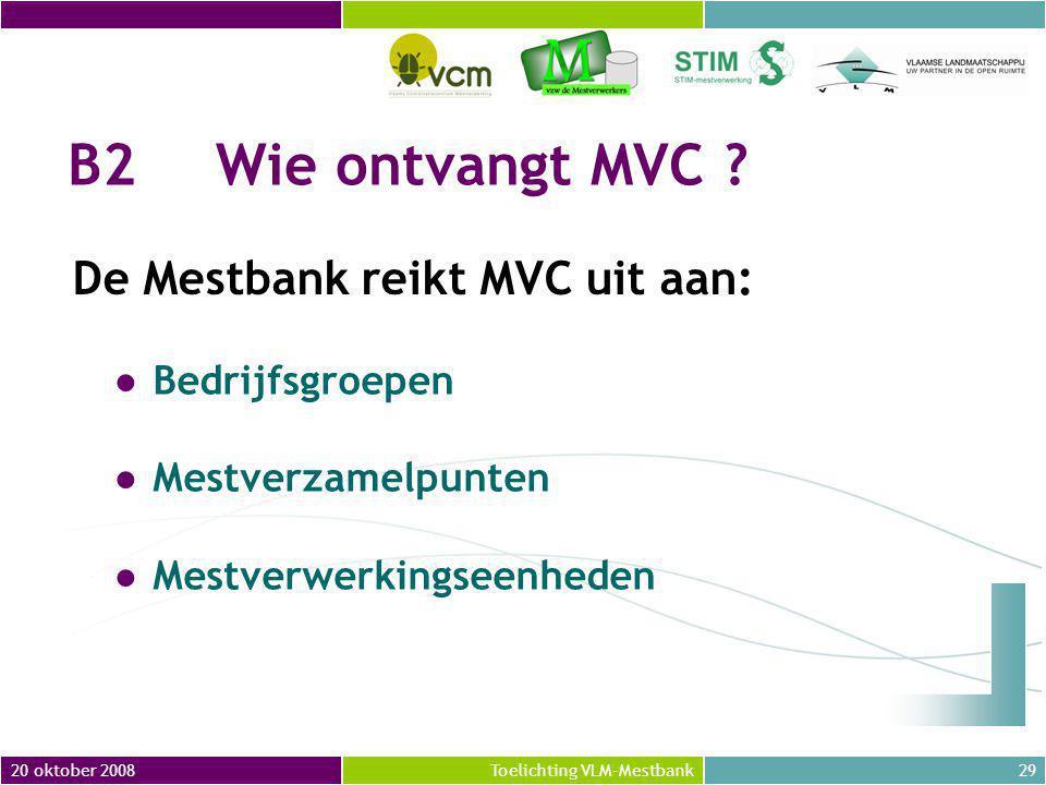 20 oktober 200829Toelichting VLM-Mestbank B2Wie ontvangt MVC .