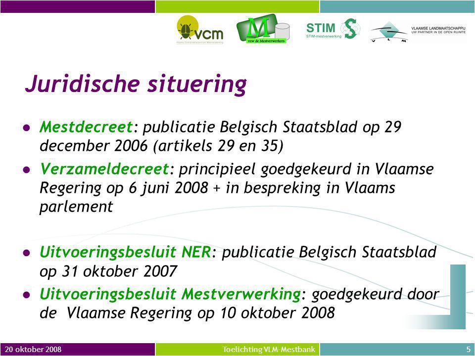 20 oktober 20086Toelichting VLM-Mestbank A) Mestverwerkingsplicht