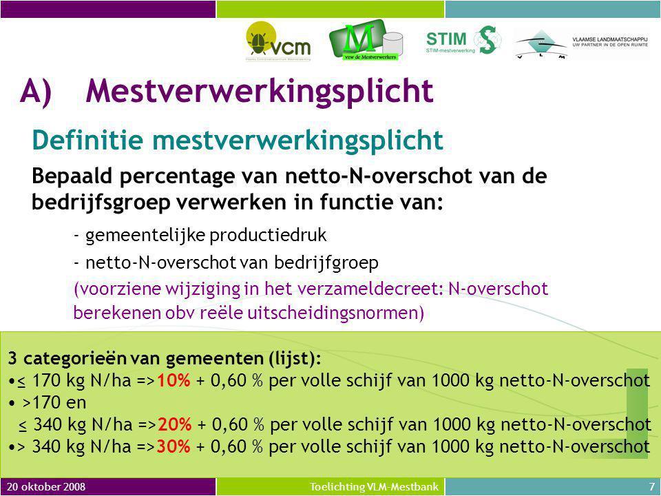 20 oktober 20088Toelichting VLM-Mestbank A)Mestverwerkingsplicht Definitie mestoverschot van bedrijfsgroep N-overschot van bedrijfsgroep = Som van N-overschotten van alle bedrijven N-overschot van bedrijf = Som van N-overschotten van alle exploitaties N-overschot van exploitatie = netto-N-productie uit dierlijke mest – N-afzetmogelijkheid op eigen landbouwgronden (voorziene wijziging in het verzameldecreet: reële N- productie ipv forfaitaire N-productie)