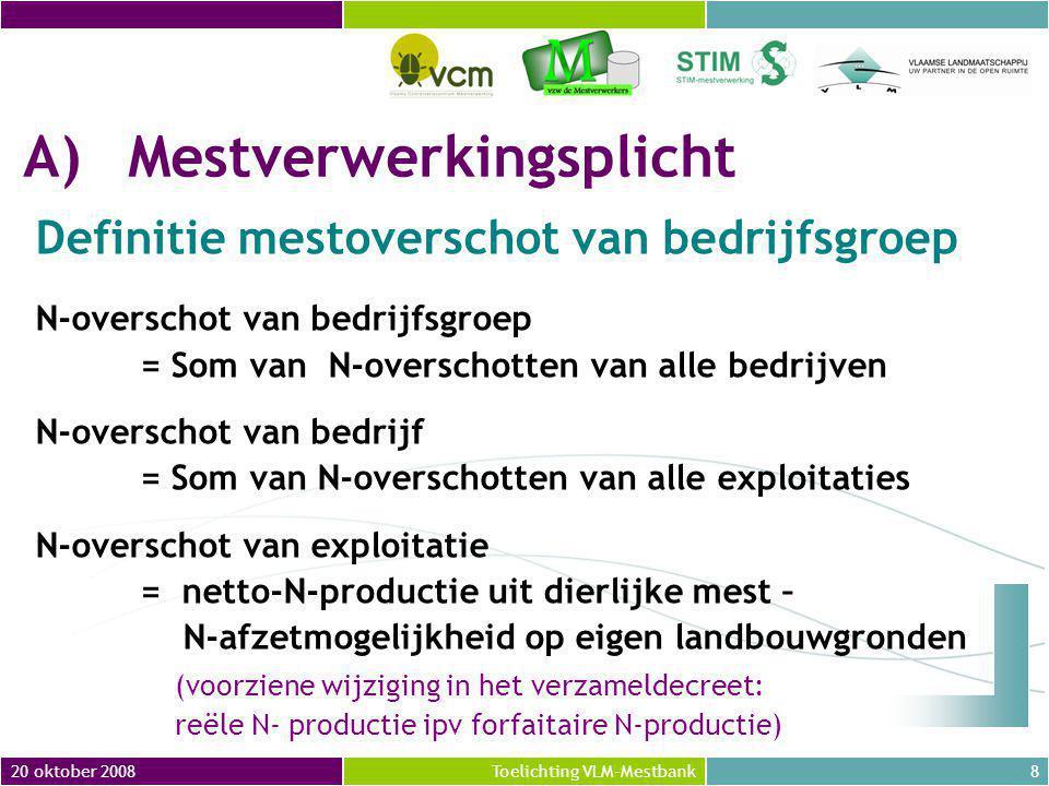 20 oktober 200819Toelichting VLM-Mestbank A)Mestverwerkingsplicht 2.