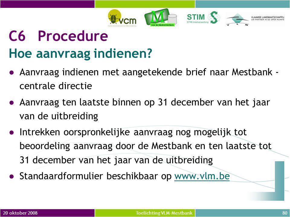 20 oktober 200880Toelichting VLM-Mestbank C6Procedure Hoe aanvraag indienen.
