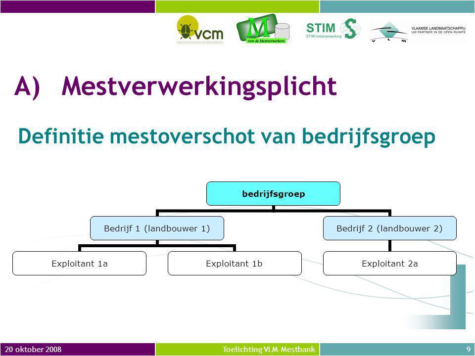 20 oktober 200840Toelichting VLM-Mestbank = Maximum MVC per jaar aan verzamelpunt of verwerkingseenheid ●'Plafond' MVC in 2007 = aantal kg N uit Vlaamse dierlijke mest aangevoerd in 2007 ●'Plafond' MVC in 2008 (en latere jaren)= aantal kg N uit Vlaamse dierlijke mest die werd aangevoerd in 2008 + aantal kg N uit Vlaamse dierlijke mest aangevoerd in 2007 waarvoor in 2007 nog geen MVC werden toegekend B7 Plafond