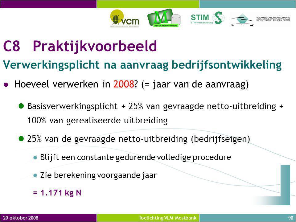 20 oktober 200890Toelichting VLM-Mestbank C8Praktijkvoorbeeld Verwerkingsplicht na aanvraag bedrijfsontwikkeling ●Hoeveel verwerken in 2008.