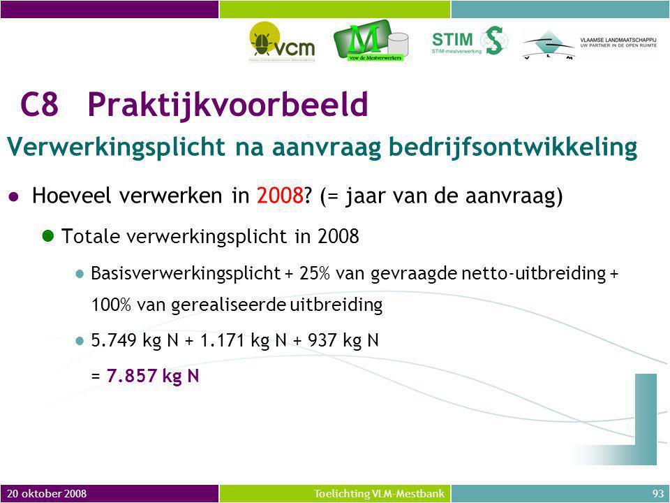 20 oktober 200893Toelichting VLM-Mestbank C8Praktijkvoorbeeld Verwerkingsplicht na aanvraag bedrijfsontwikkeling ●Hoeveel verwerken in 2008.
