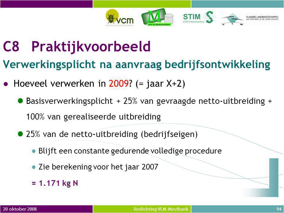 20 oktober 200894Toelichting VLM-Mestbank C8Praktijkvoorbeeld Verwerkingsplicht na aanvraag bedrijfsontwikkeling ●Hoeveel verwerken in 2009.