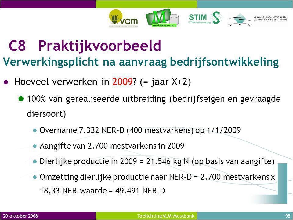 20 oktober 200895Toelichting VLM-Mestbank C8Praktijkvoorbeeld Verwerkingsplicht na aanvraag bedrijfsontwikkeling ●Hoeveel verwerken in 2009.