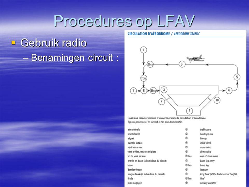Procedures op LFAV  Gebruik radio –Benamingen circuit :