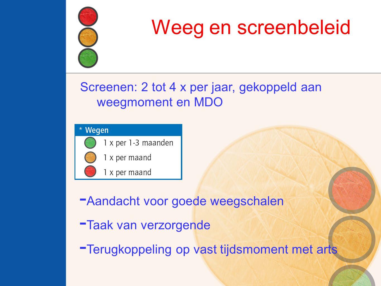Weeg en screenbeleid - Aandacht voor goede weegschalen - Taak van verzorgende - Terugkoppeling op vast tijdsmoment met arts Screenen: 2 tot 4 x per ja