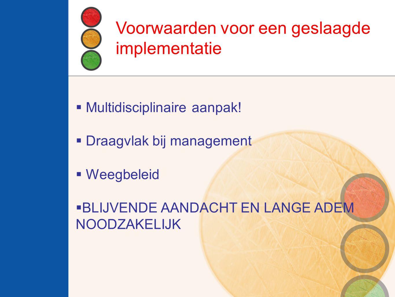  Multidisciplinaire aanpak!  Draagvlak bij management  Weegbeleid  BLIJVENDE AANDACHT EN LANGE ADEM NOODZAKELIJK Voorwaarden voor een geslaagde im