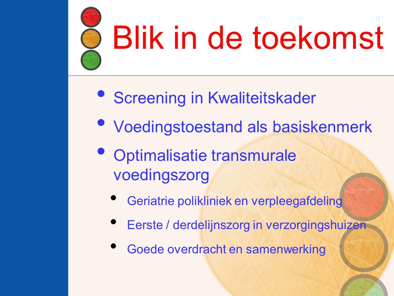 Blik in de toekomst Screening in Kwaliteitskader Voedingstoestand als basiskenmerk Optimalisatie transmurale voedingszorg Geriatrie polikliniek en ver
