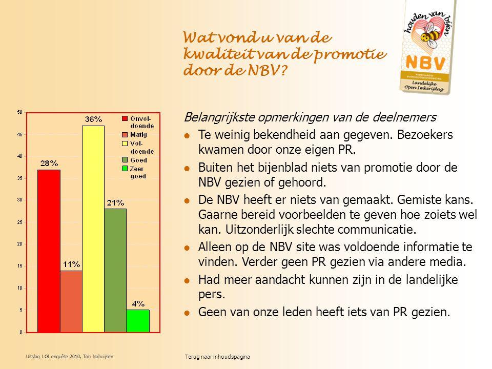 Uitslag LOI enquête 2010, Ton Nahuijsen Wat vond u van de kwaliteit van de promotie door de NBV? Belangrijkste opmerkingen van de deelnemers Te weinig
