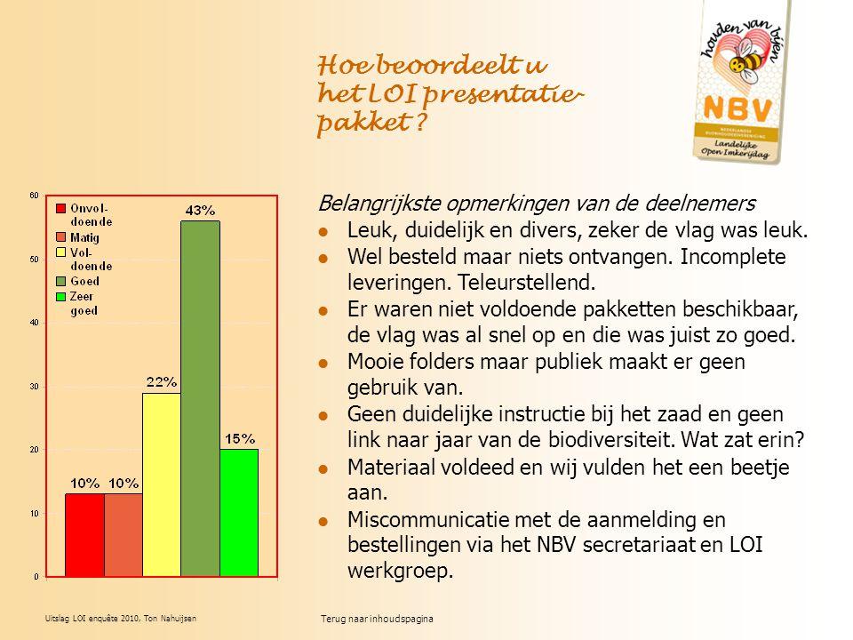 Uitslag LOI enquête 2010, Ton Nahuijsen Hoe beoordeelt u het LOI presentatie- pakket ? Belangrijkste opmerkingen van de deelnemers Leuk, duidelijk en