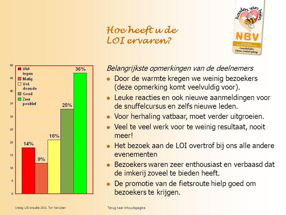 Uitslag LOI enquête 2010, Ton Nahuijsen Hoe heeft u de LOI ervaren? Belangrijkste opmerkingen van de deelnemers Door de warmte kregen we weinig bezoek