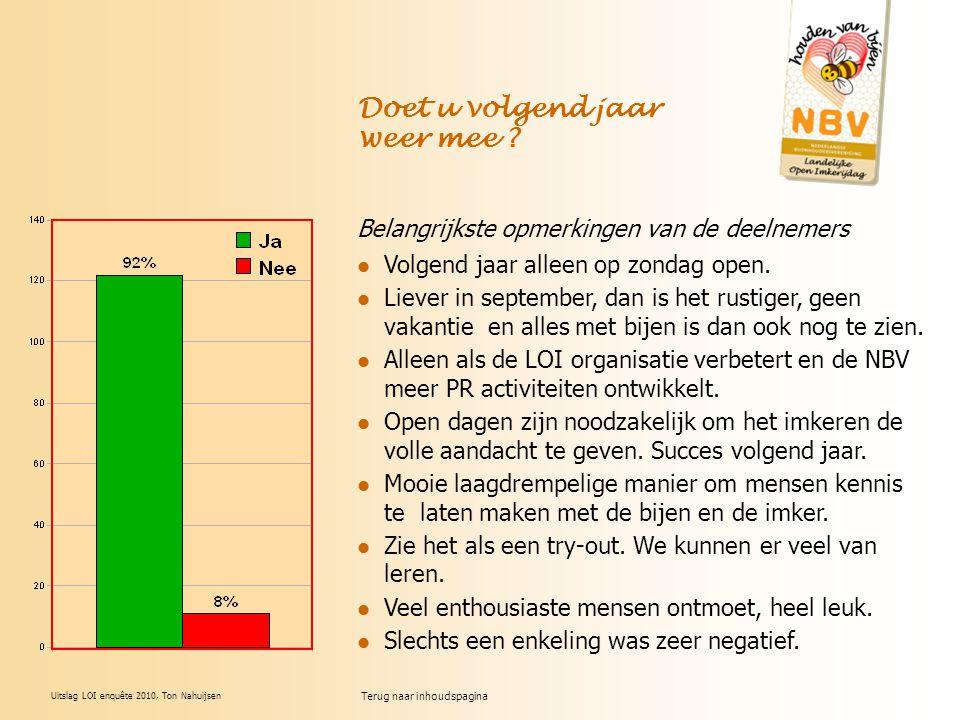 Uitslag LOI enquête 2010, Ton Nahuijsen Belangrijkste opmerkingen van de deelnemers Volgend jaar alleen op zondag open. Liever in september, dan is he