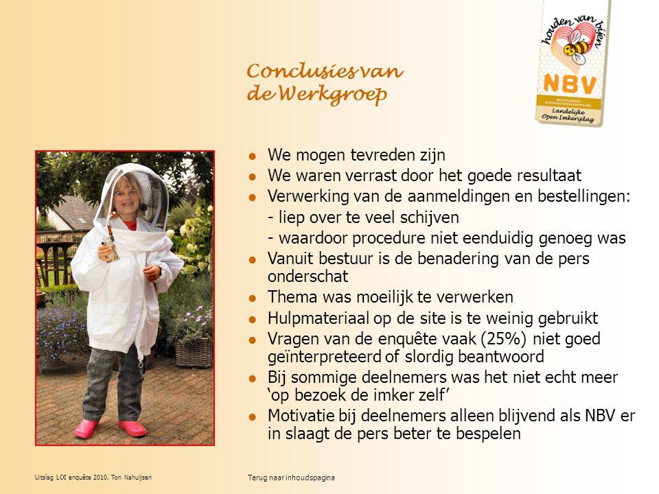 Uitslag LOI enquête 2010, Ton Nahuijsen Conclusies van de Werkgroep We mogen tevreden zijn We waren verrast door het goede resultaat Verwerking van de