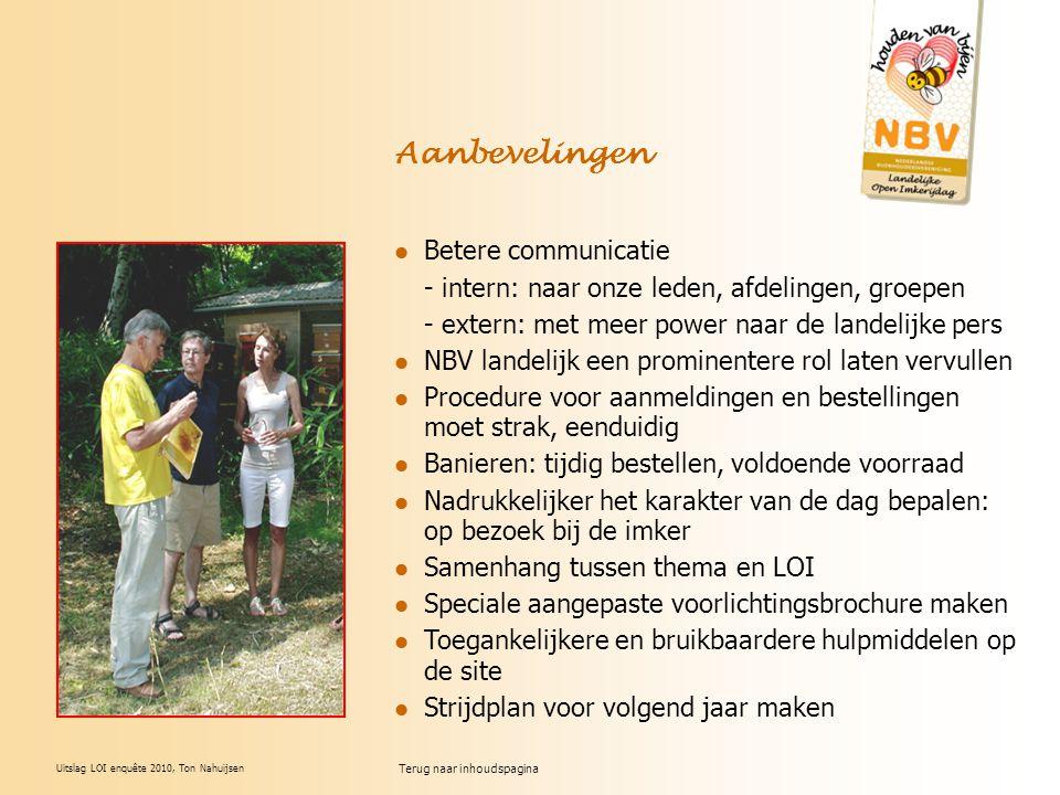 Uitslag LOI enquête 2010, Ton Nahuijsen Aanbevelingen Betere communicatie - intern: naar onze leden, afdelingen, groepen - extern: met meer power naar