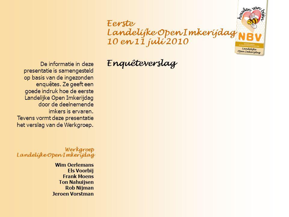 Uitslagen en reacties van de deelnemers Conclusies Aanbevelingen Eerste Landelijke Open Imkerijdag 10 en 11 juli 2010 Enquêteverslag Uitslag LOI enquête 2010, Ton Nahuijsen