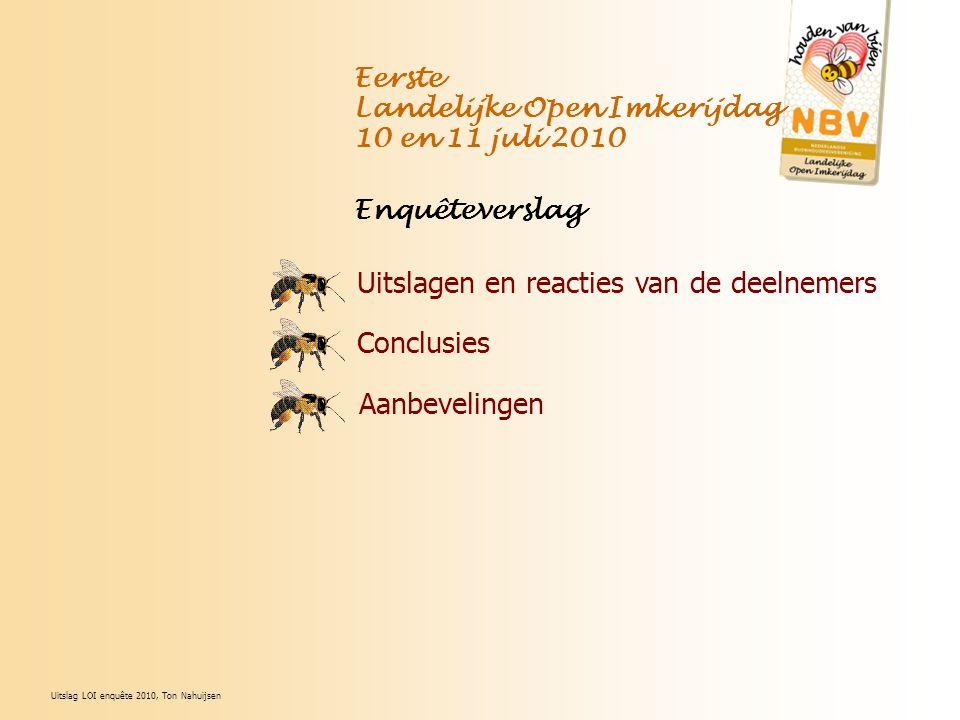 Uitslagen en reacties van de deelnemers Conclusies Aanbevelingen Eerste Landelijke Open Imkerijdag 10 en 11 juli 2010 Enquêteverslag Uitslag LOI enquê