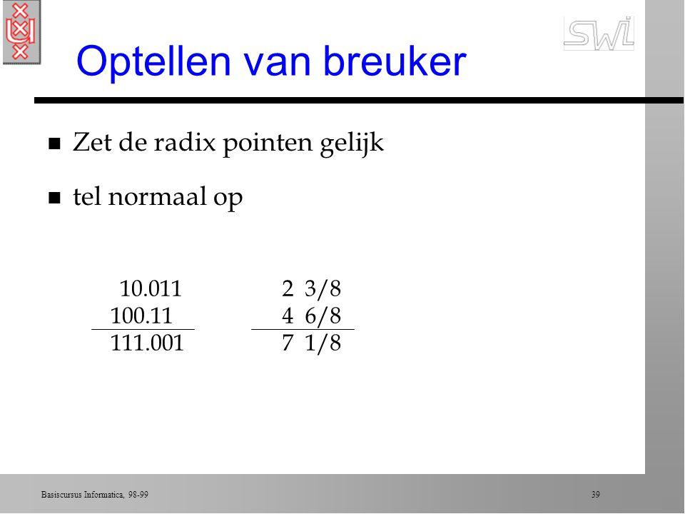 Basiscursus Informatica, 98-99 38 Breuken in binair systeem n Komma invoeren: radix point ä links van radix: integers (als tot nu toe) ä rechts van radix: breuken (1/2, 1/4, 1/8, etc) n 101.101 = 1x1/8 + 0x1/4 + 1x1/2 + 5 = 5 1/8 n Continuering van eerder ä Elke positie is 2x de waarde van zijn rechter buur