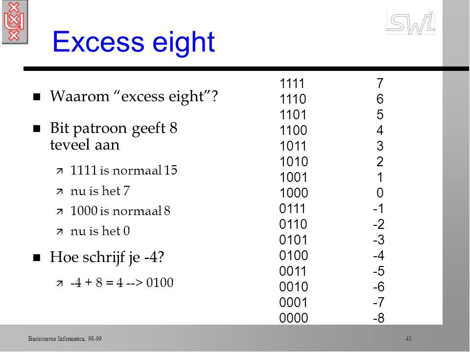 Basiscursus Informatica, 98-99 42 Excess notation n Kies bit-string lengte (bv. 4) n Schrijf alle patronen op als gewoon tellen (16) n Stel patroon 10
