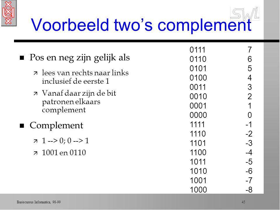 Basiscursus Informatica, 98-99 44 Two's complement notation n Kies lengte bit-patroon (bv. 4) n Stel 0000 als 0 ä Tel naar boven tot aan 0111 (geeft 1