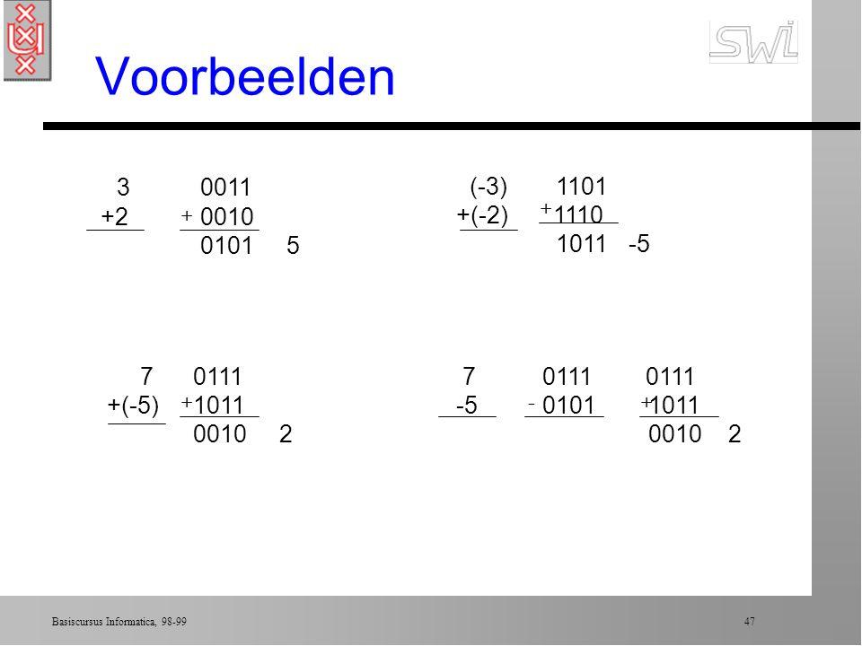 Basiscursus Informatica, 98-99 46 Optellen in two's compl.