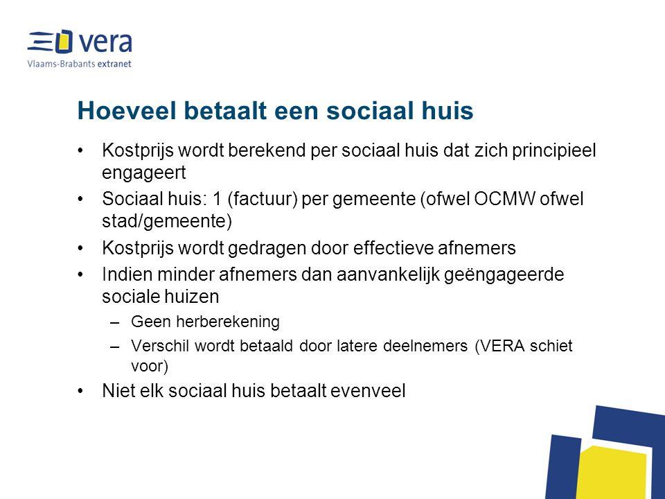 Hoeveel betaalt een sociaal huis Kostprijs wordt berekend per sociaal huis dat zich principieel engageert Sociaal huis: 1 (factuur) per gemeente (ofwe