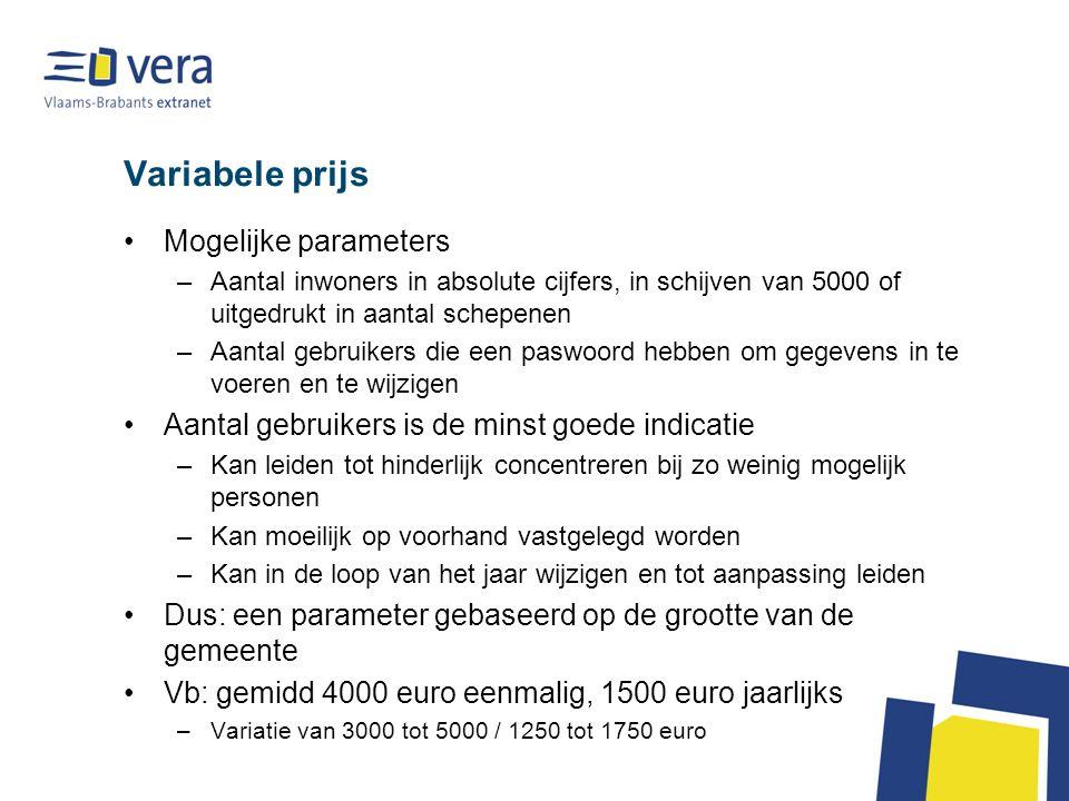 Variabele prijs Mogelijke parameters –Aantal inwoners in absolute cijfers, in schijven van 5000 of uitgedrukt in aantal schepenen –Aantal gebruikers d