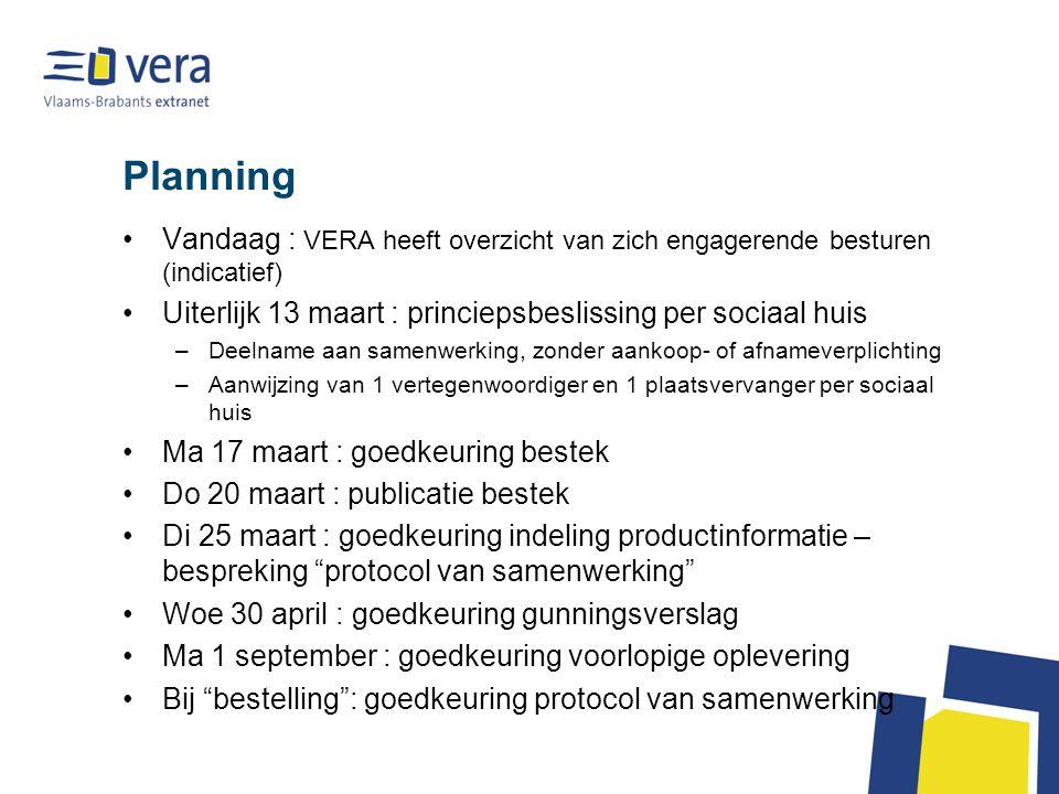Planning Vandaag : VERA heeft overzicht van zich engagerende besturen (indicatief) Uiterlijk 13 maart : princiepsbeslissing per sociaal huis –Deelname