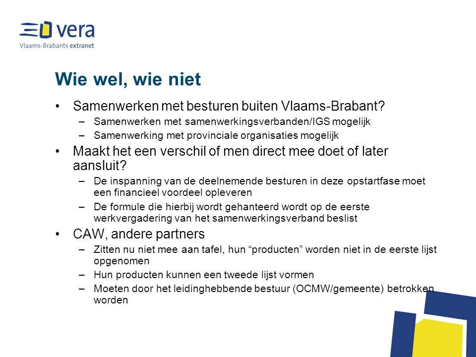 Wie wel, wie niet Samenwerken met besturen buiten Vlaams-Brabant? –Samenwerken met samenwerkingsverbanden/IGS mogelijk –Samenwerking met provinciale o