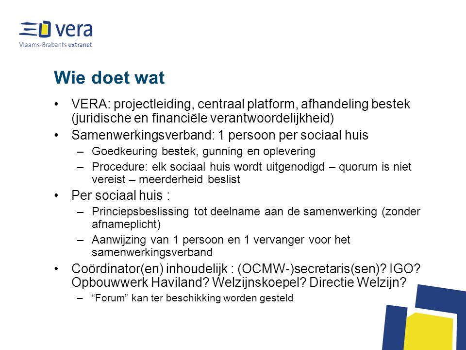 Wie doet wat VERA: projectleiding, centraal platform, afhandeling bestek (juridische en financiële verantwoordelijkheid) Samenwerkingsverband: 1 perso