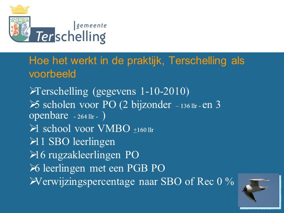 Hoe het werkt in de praktijk, Terschelling als voorbeeld  Terschelling (gegevens 1-10-2010)  5 scholen voor PO (2 bijzonder – 136 llr - en 3 openbar
