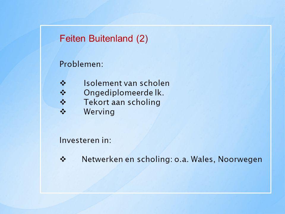 Feiten Buitenland (2) Problemen:  Isolement van scholen  Ongediplomeerde lk.  Tekort aan scholing  Werving Investeren in:  Netwerken en scholing: