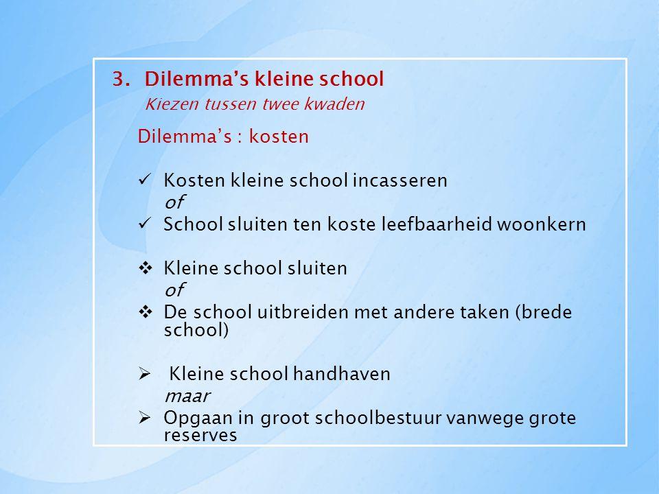 3.Dilemma's kleine school Kiezen tussen twee kwaden Dilemma's : kosten Kosten kleine school incasseren of School sluiten ten koste leefbaarheid woonke