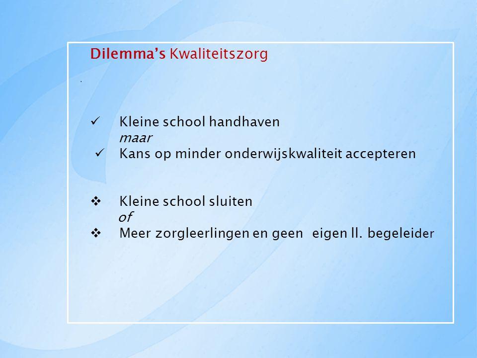 Dilemma's Kwaliteitszorg Kleine school handhaven maar Kans op minder onderwijskwaliteit accepteren  Kleine school sluiten of  Meer zorgleerlingen en