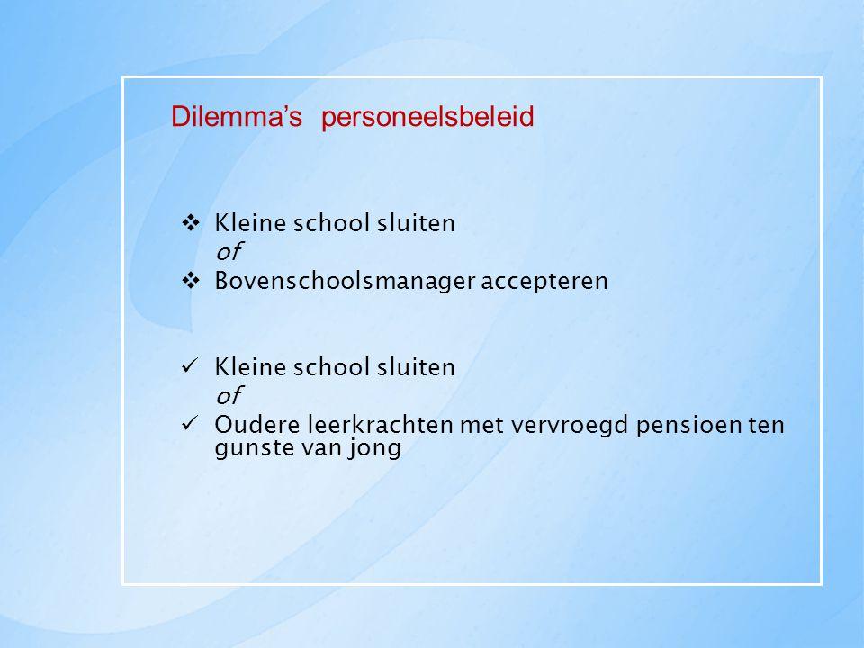 Dilemma's personeelsbeleid  Kleine school sluiten of  Bovenschoolsmanager accepteren Kleine school sluiten of Oudere leerkrachten met vervroegd pens