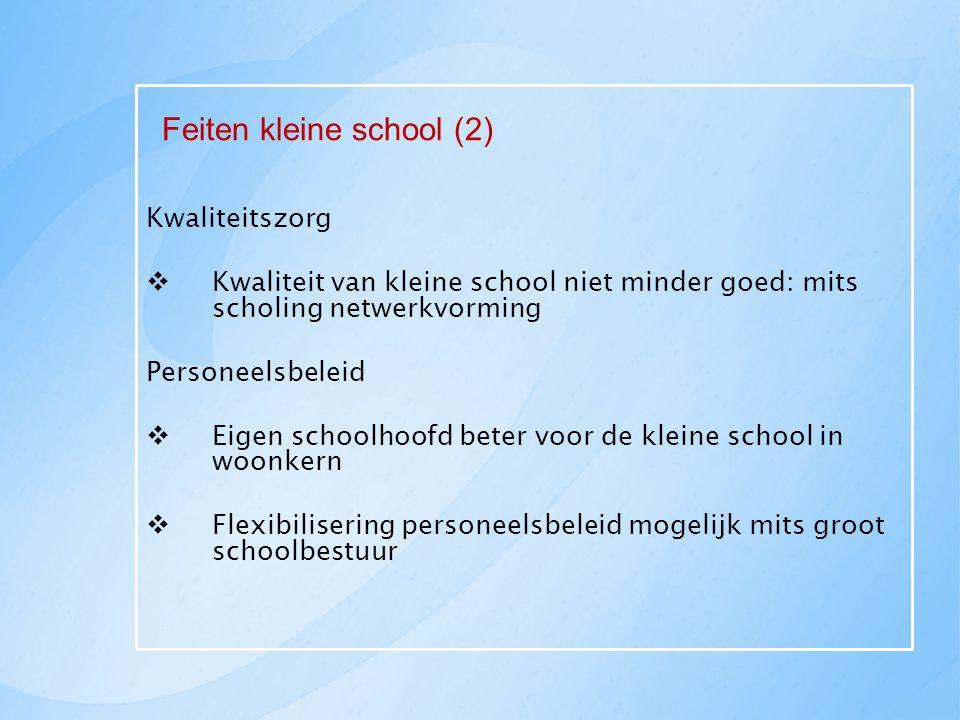 Feiten kleine school (2) Kwaliteitszorg  Kwaliteit van kleine school niet minder goed: mits scholing netwerkvorming Personeelsbeleid  Eigen schoolho