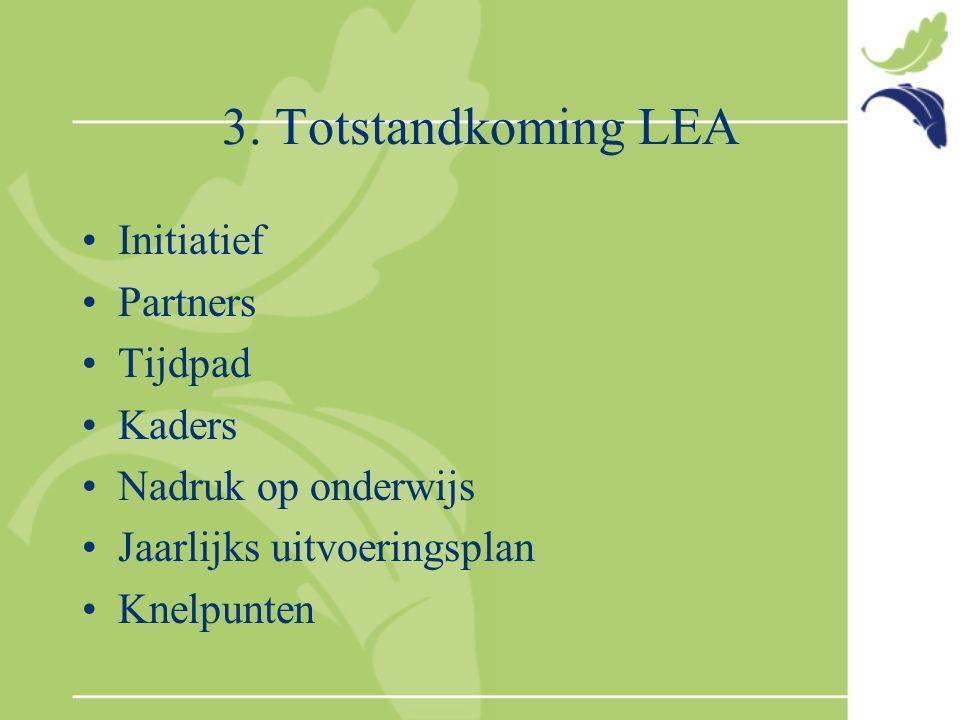 3. Totstandkoming LEA Initiatief Partners Tijdpad Kaders Nadruk op onderwijs Jaarlijks uitvoeringsplan Knelpunten
