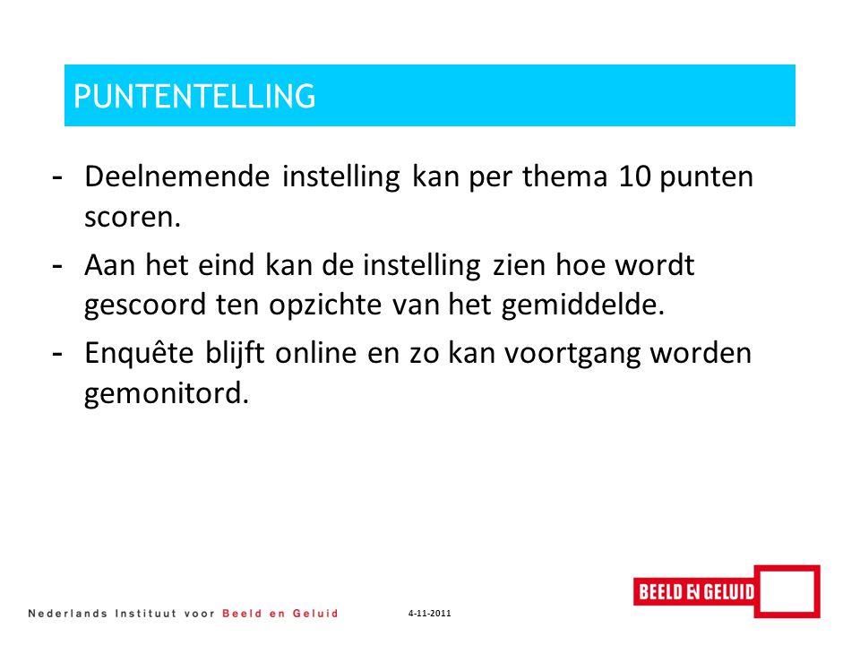 4-11-2011 PUNTENTELLING - Deelnemende instelling kan per thema 10 punten scoren. - Aan het eind kan de instelling zien hoe wordt gescoord ten opzichte