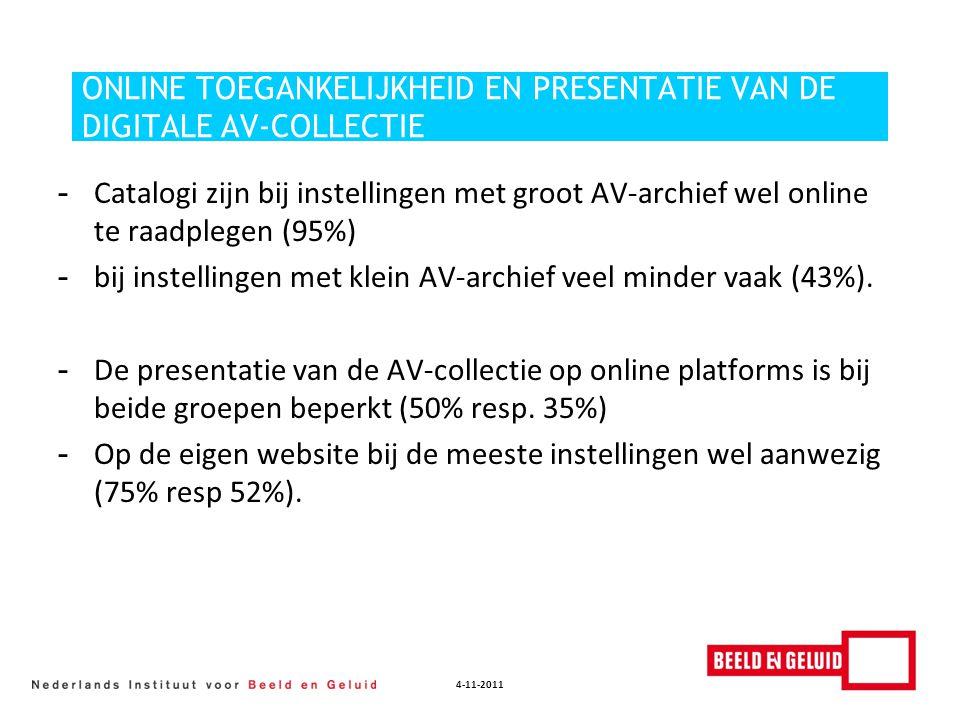 4-11-2011 ONLINE TOEGANKELIJKHEID EN PRESENTATIE VAN DE DIGITALE AV-COLLECTIE - Catalogi zijn bij instellingen met groot AV-archief wel online te raad
