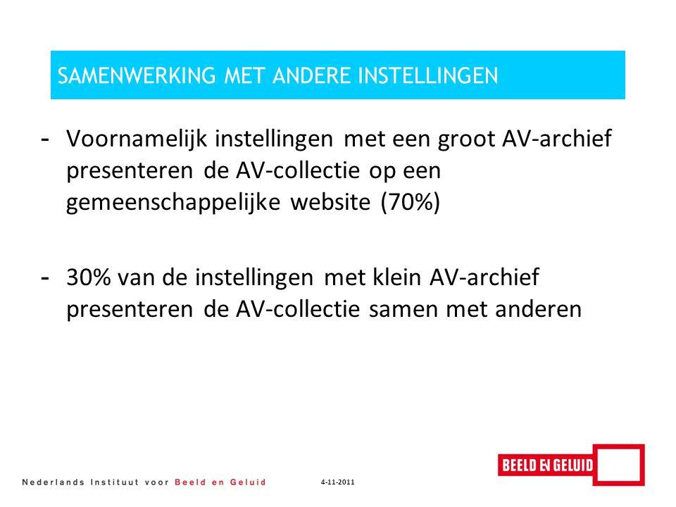 4-11-2011 SAMENWERKING MET ANDERE INSTELLINGEN - Voornamelijk instellingen met een groot AV-archief presenteren de AV-collectie op een gemeenschappeli